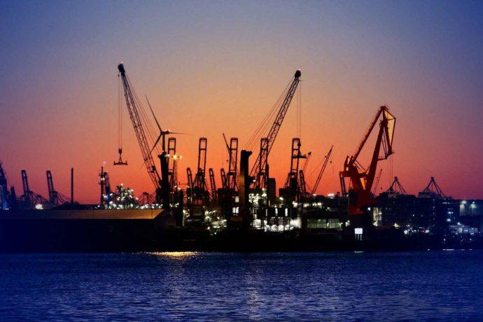 Hafen | Hamburg | Sonnenuntergang | Kran | Elbe