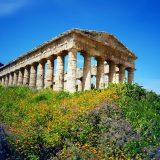 Foto Tempel Gebäude antik Tagesstimmung auf Sizilien mit Blumen und Himmel